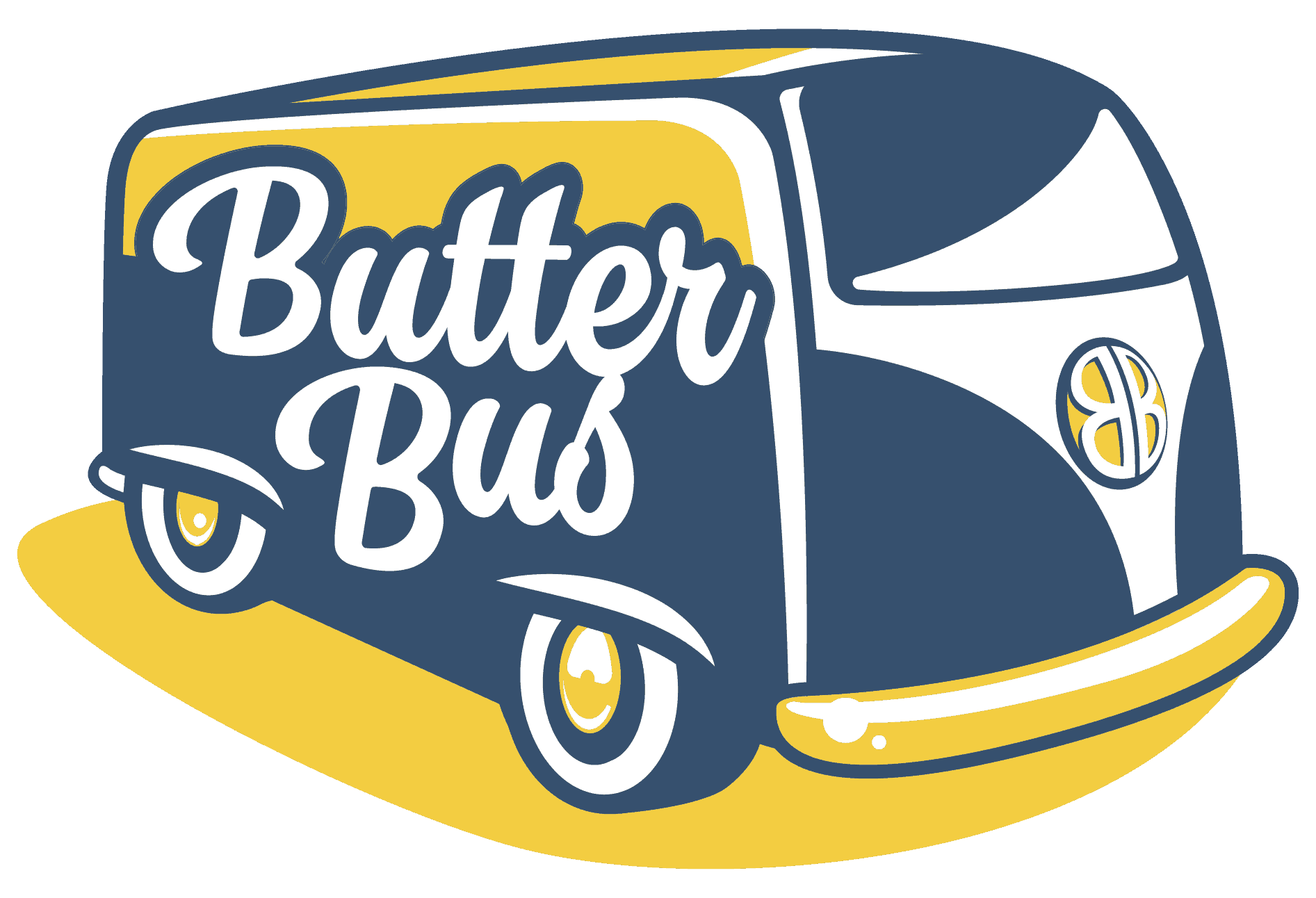 Butter Bus Yellow and Blue Logo