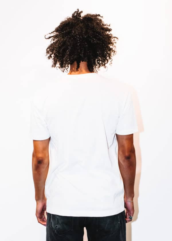 A man with Curly hair, showing his back, wearing a White t-shirt