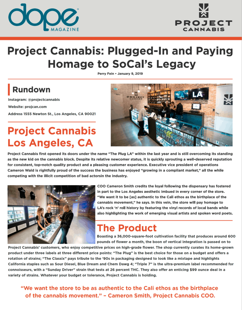 dope magazine page with project cannabis's news