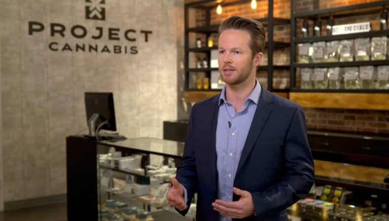 cameron is interviewed inside of the dtla dispensary by cnbc
