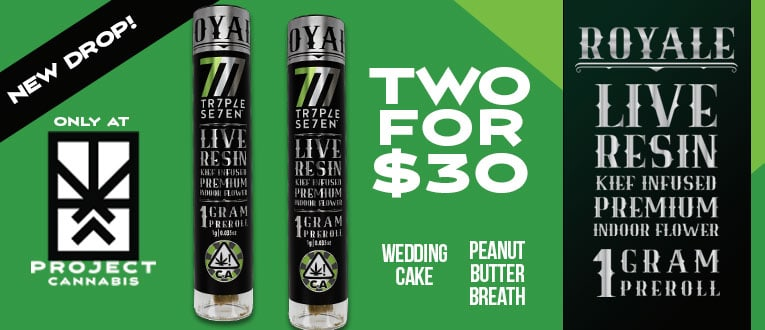 Two for $30 Triple 7 Royale Live Resin Keif Infused 1G Pre-Rolls.